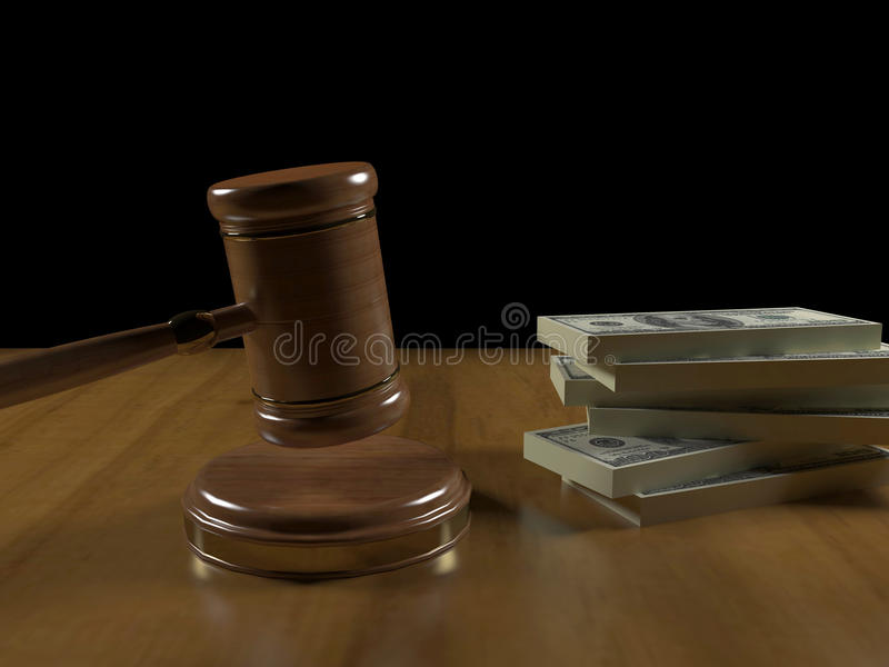 Gavel and money royalty free stock photography