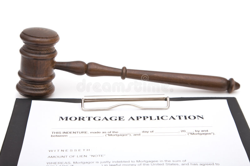 Gavel and mortgage application. Form on white, shallow dof royalty free stock photos