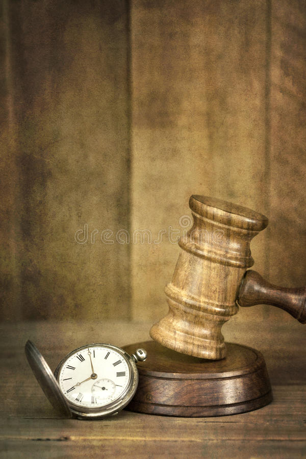 Download Gavel And Pocket Watch With Grunge Effects Stock Photo - Image: 26549262