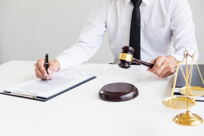 gavel and sound block of justice law and lawyer working on wooden desk background. stock image