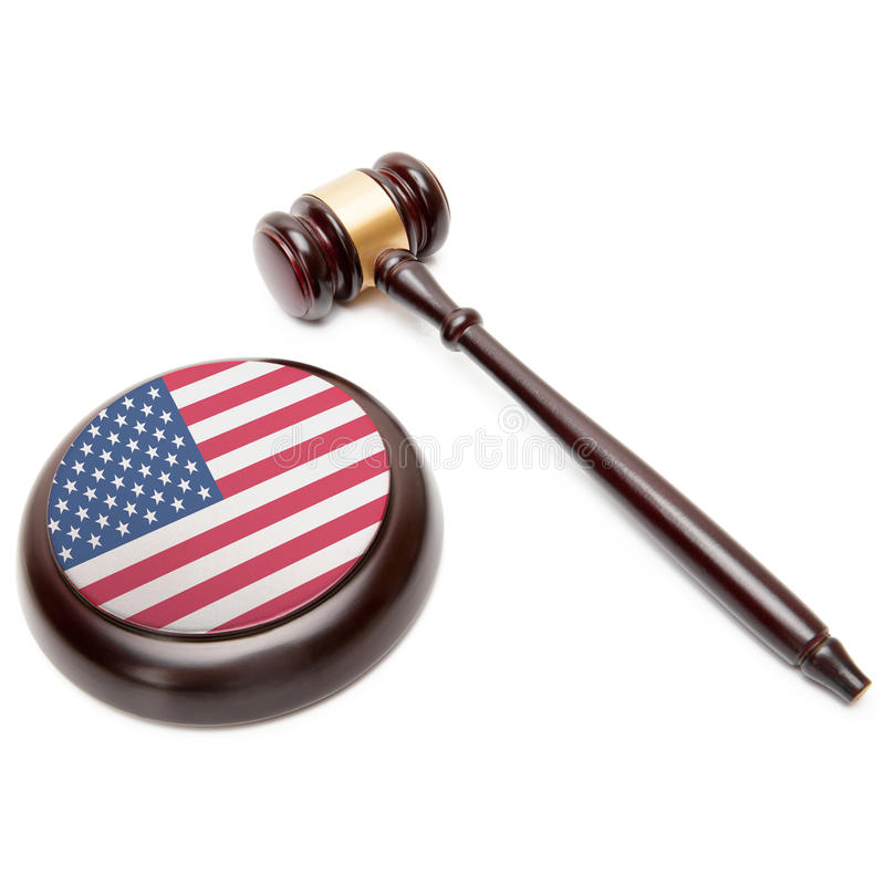 Gavel and soundboard with national flag on it - United States royalty free stock image