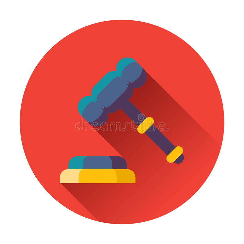 Gavel with stand icon. Flat vector illustration