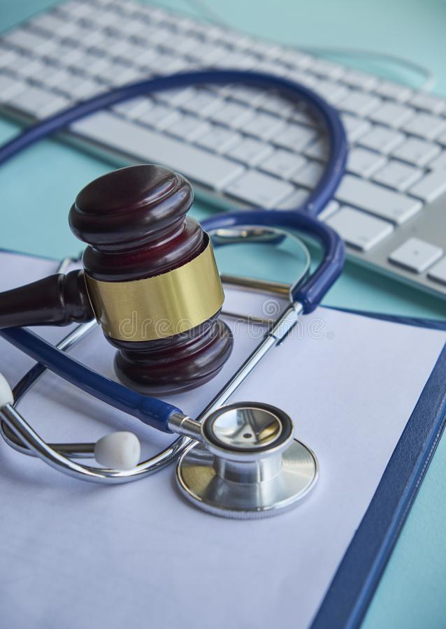 Gavel and stethoscope. medical jurisprudence. legal definition of medical malpractice. attorney. common errors doctors. Nurses and hospitals make royalty free stock photography