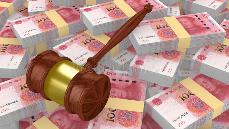 Gavel sur une pile énorme des yuans chinois illustration libre de droits