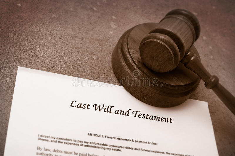 Gavel and will. Legal gavel on Last will and testament document royalty free stock photos