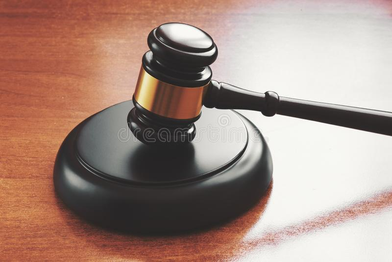 Gavel on a wooden desk. Judge hammer royalty free stock images