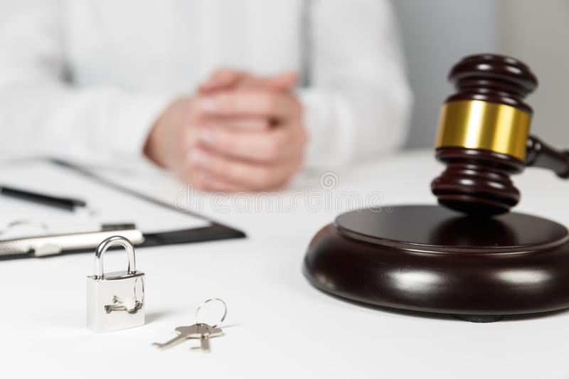 Gavel wooden and house for home buying or selling of bidding. Or lawyer of home real estate and building concept stock photos
