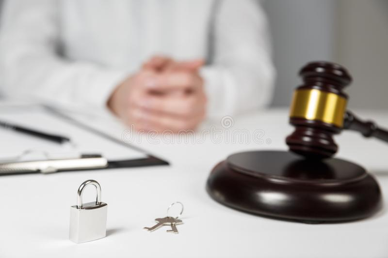 Gavel wooden and house for home buying or selling of bidding. Or lawyer of home real estate and building concept royalty free stock image