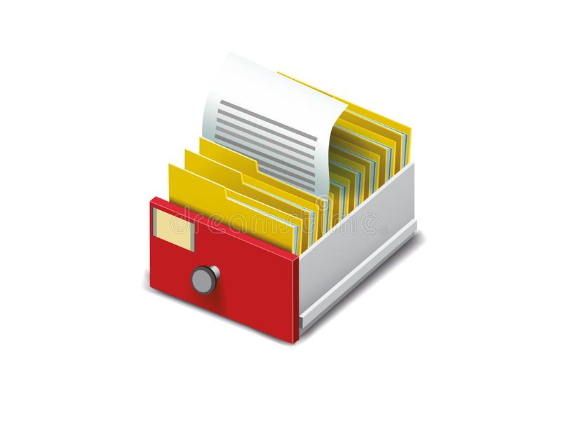 Gaveta com os dobradores para arquivos ilustração royalty free