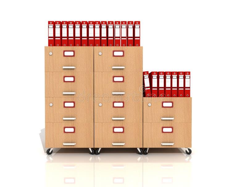 Gaveta de arquivo de madeira com pastas de anel vermelhas ilustração do vetor