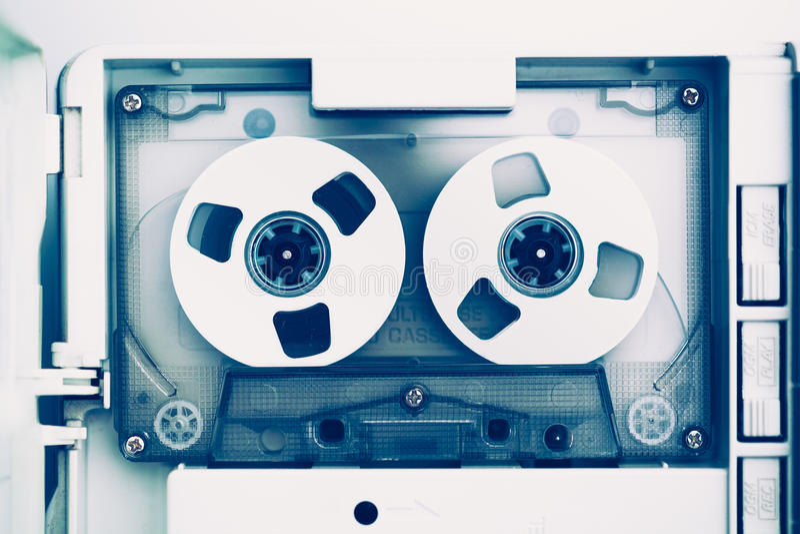 Gaveta do estojo compacto da cassete áudio do vintage, tom azul fotos de stock