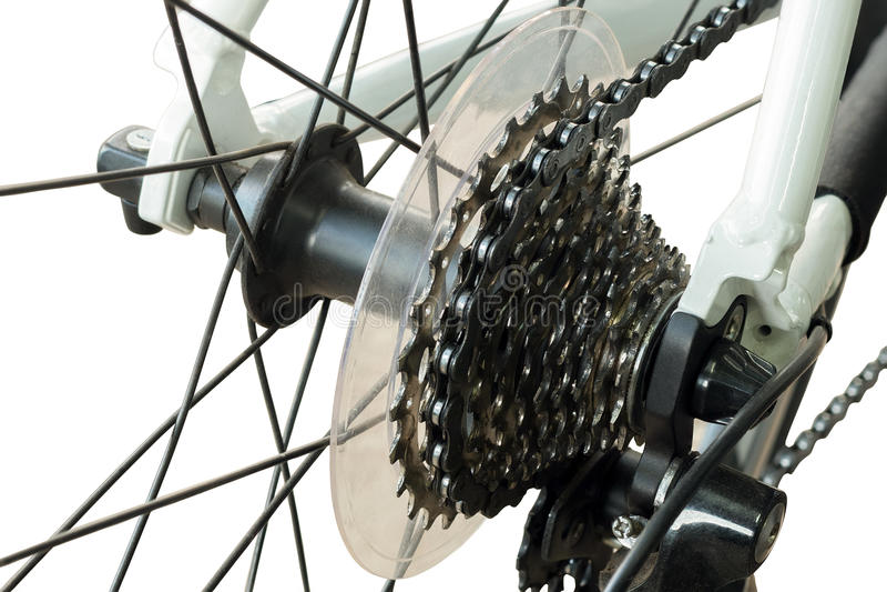 Gaveta traseira do Mountain bike na roda foto de stock