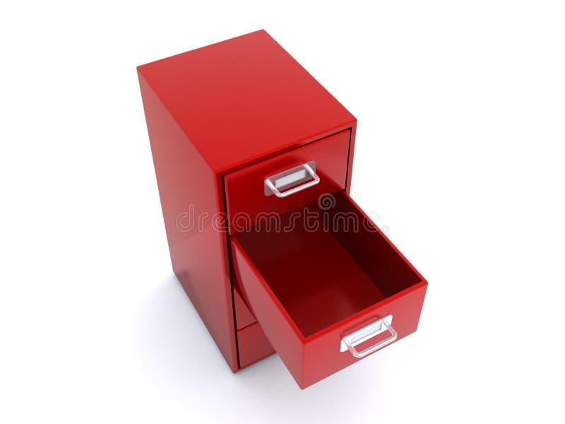 Gaveta vermelha vazia imagem de stock