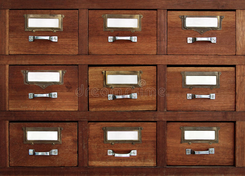 Gavetas etiquetadas fotos de stock