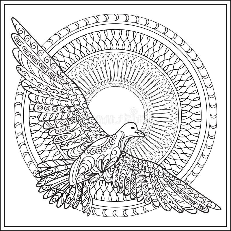 Gaviota d'isolement avec le mandala illustration libre de droits