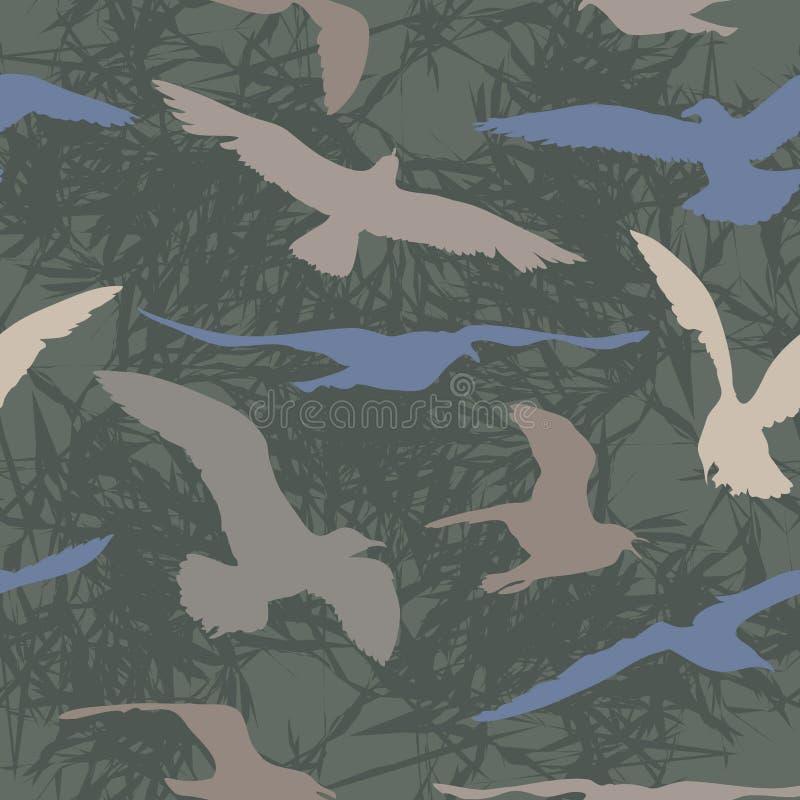 Gaviota del vuelo en un fondo abstracto libre illustration
