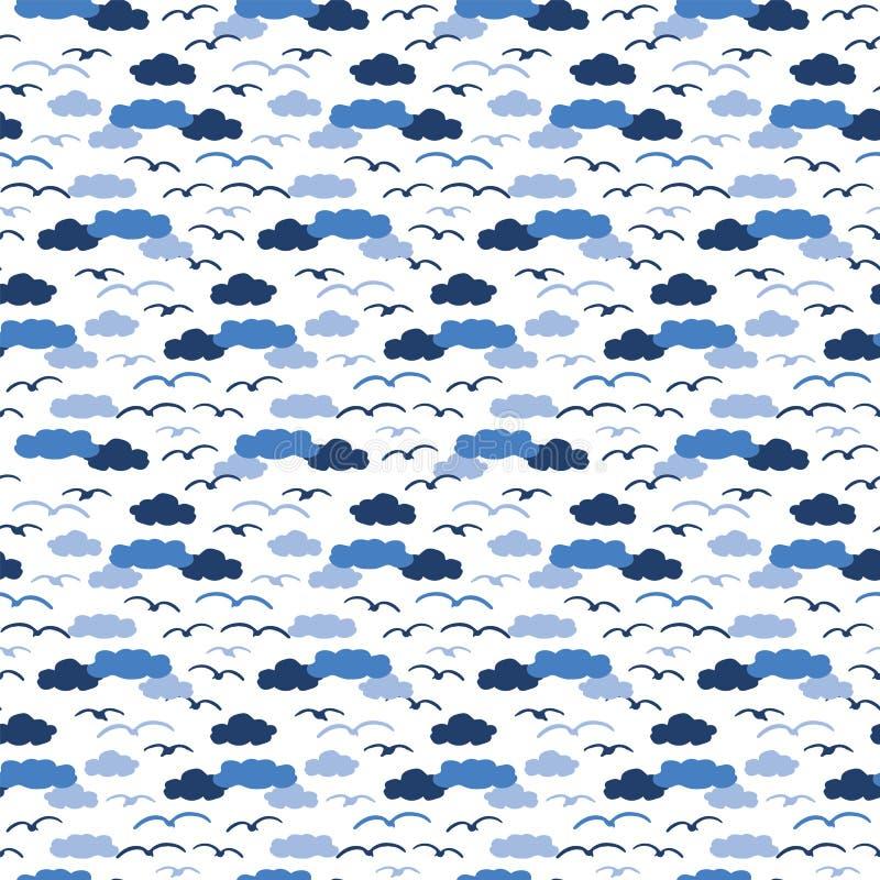 Gaviota linda en el modelo inconsútil del vector de las nubes de la historieta azul de la silueta Teja exhausta de la vida del oc ilustración del vector