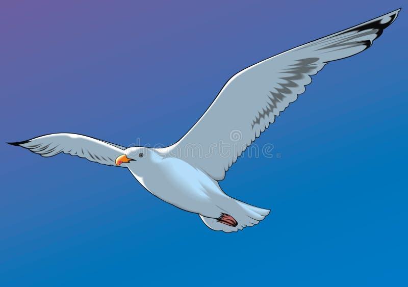 Gaviota y el cielo azul stock de ilustración