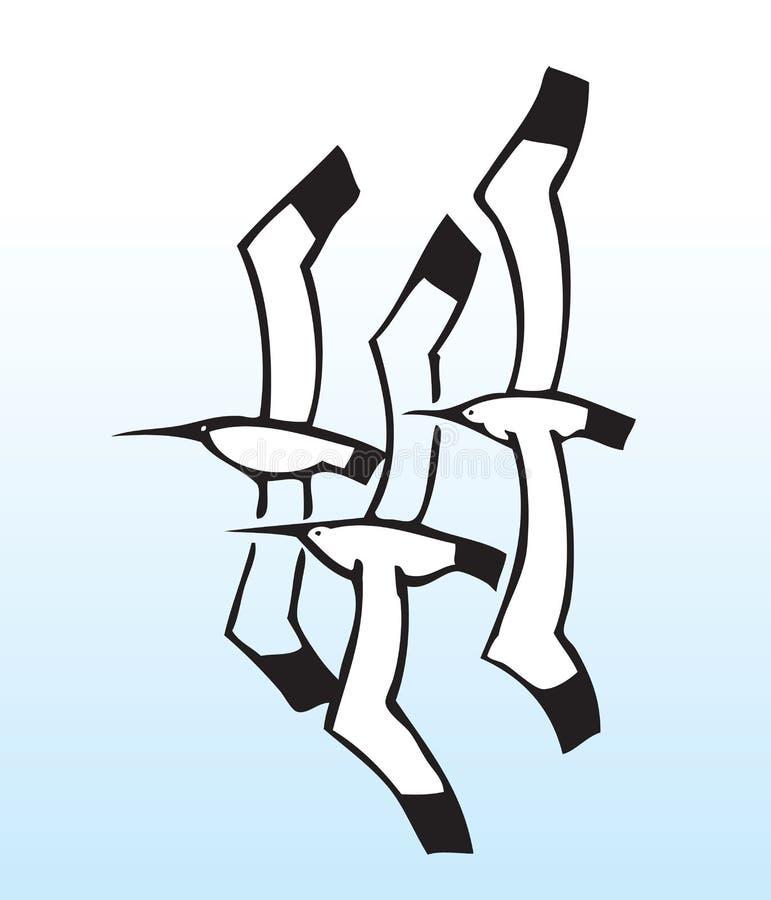 Gaviotas drenadas mano stock de ilustración