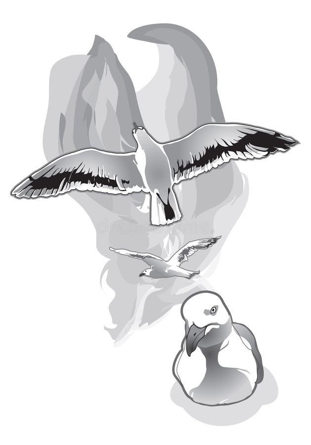 Gaviotas que vuelan y que se sientan stock de ilustración