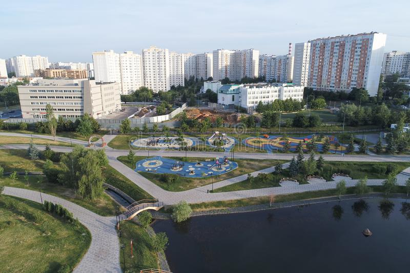 Gavrikovskiy pond and Butovo park from the birds sight, Moscow, Russia royalty free stock image