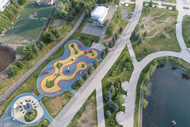 Gavrikovskiy pond and Butovo park from the birds sight, Moscow, Russia stock photos