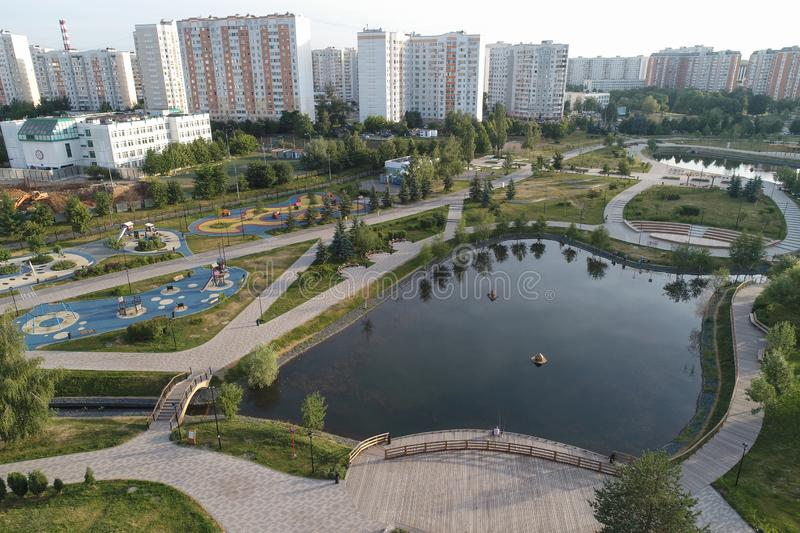 Gavrikovskiy pond and Butovo park from the birds sight, Moscow, Russia royalty free stock photos