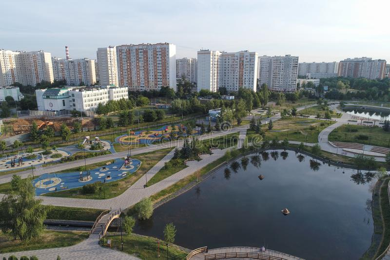 Gavrikovskiy pond and Butovo park from the birds sight, Moscow, Russia stock photography
