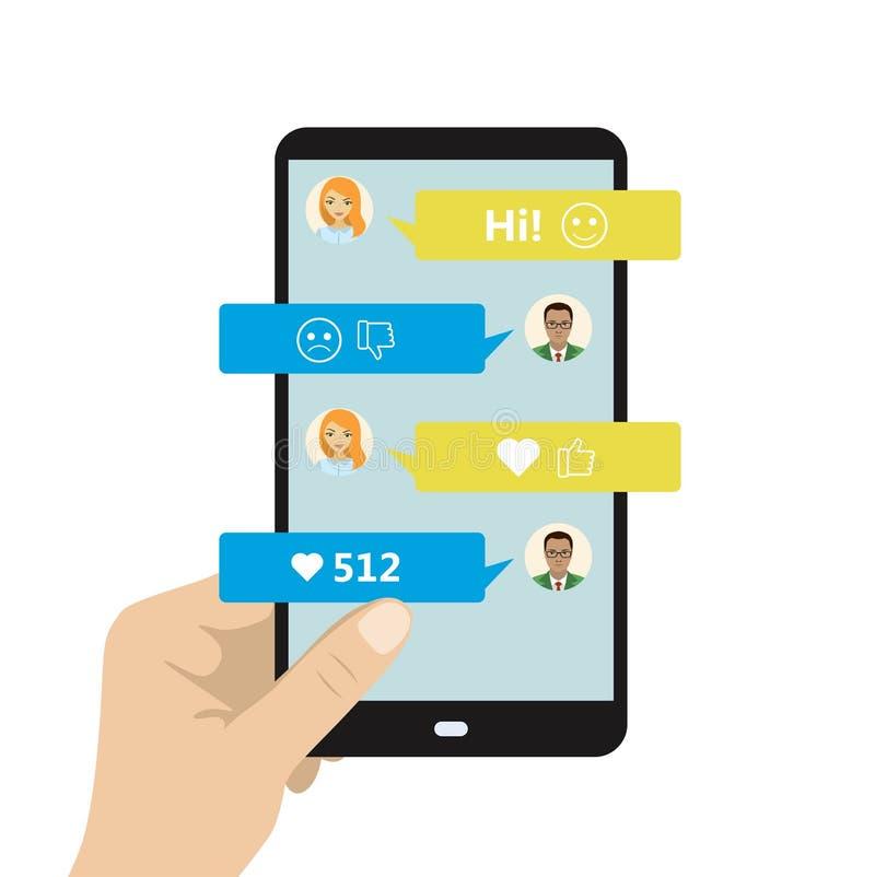 Gawędzący na telefonie, online rozmowa z texting wiadomością ilustracja wektor