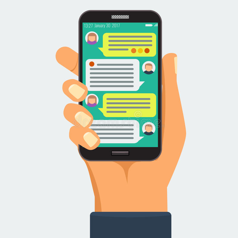 Gawędzący z chatbot na mądrze telefonie, online rozmowa royalty ilustracja