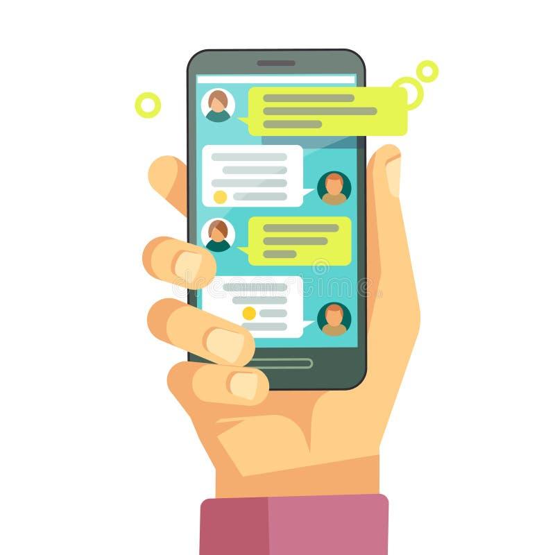 Gawędzący z chatbot na telefonie, online rozmowy wiadomości wektoru texting pojęcie royalty ilustracja
