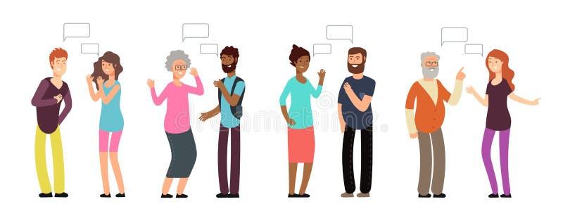 Gawędzeń persons Ludzie grupują w rozmowie Mężczyzna i kobiety dyskutuje z główkowanie bąblem Wektorowa komunikacja royalty ilustracja