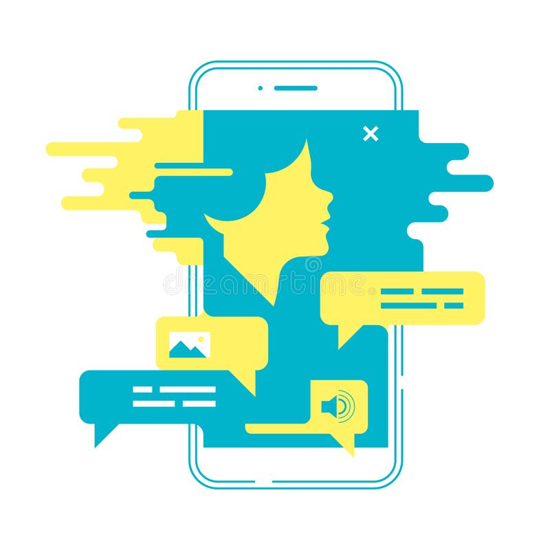 Gawędzenia pojęcie Mężczyzna gawędzenie z chatbot na smartphone również zwrócić corel ilustracji wektora royalty ilustracja