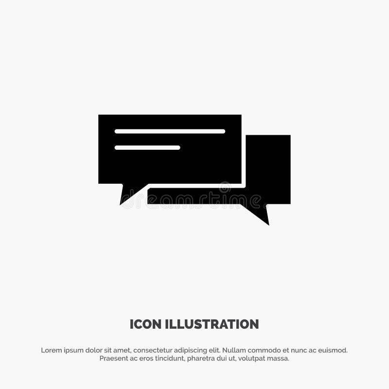 Gawędzi, Gulgocze, bąble, komunikacja, rozmowa, socjalny, mowa glifu ikony stały wektor ilustracji