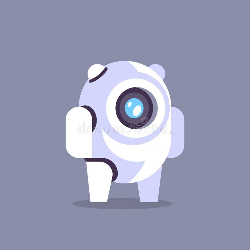 Gawędzi larwa robota ikony sztucznej inteligenci pojęcia chatbot technologii tła szarego mieszkanie ilustracja wektor