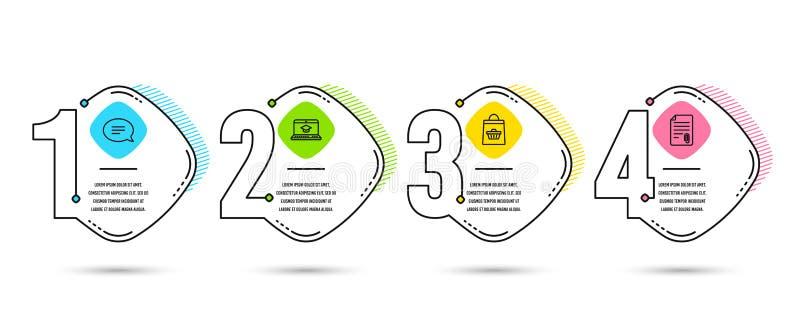 Gawędzi, strony internetowej edukacja i Online kupienie ikony Doczepianie znak Mowa bąbel, Wideo uczenie, wózek na zakupy wektor ilustracja wektor