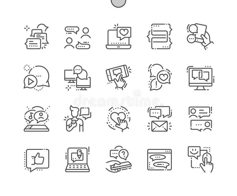 Gawędzi Wykonującą ręcznie piksla Perfect wektoru ikon 30 Cienką Kreskową 2x siatkę dla sieci Apps i grafika ilustracji