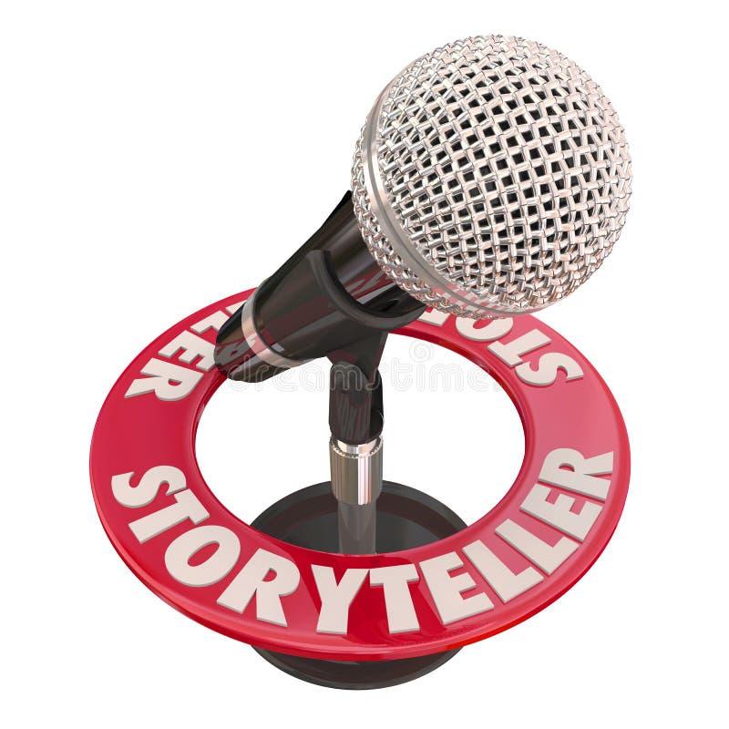 Gawędziarza mikrofonu gościa Głośnikowy gospodarz Mówi bajki 3d Illus royalty ilustracja