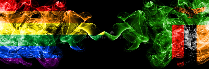 Gay contro lo Zambia, bandiere dello Zambia del fumo disposte parallelamente Bandiere seriche colorate spesse del fumo di orgogli illustrazione vettoriale