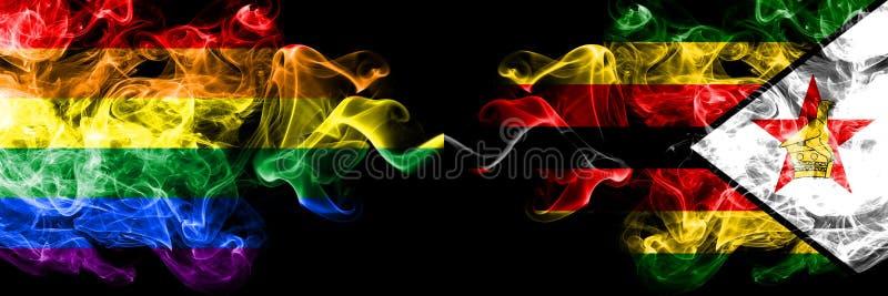Gay contro lo Zimbabwe, bandiere dello Zimbabwe del fumo disposte parallelamente Bandiere seriche colorate spesse del fumo di org illustrazione di stock