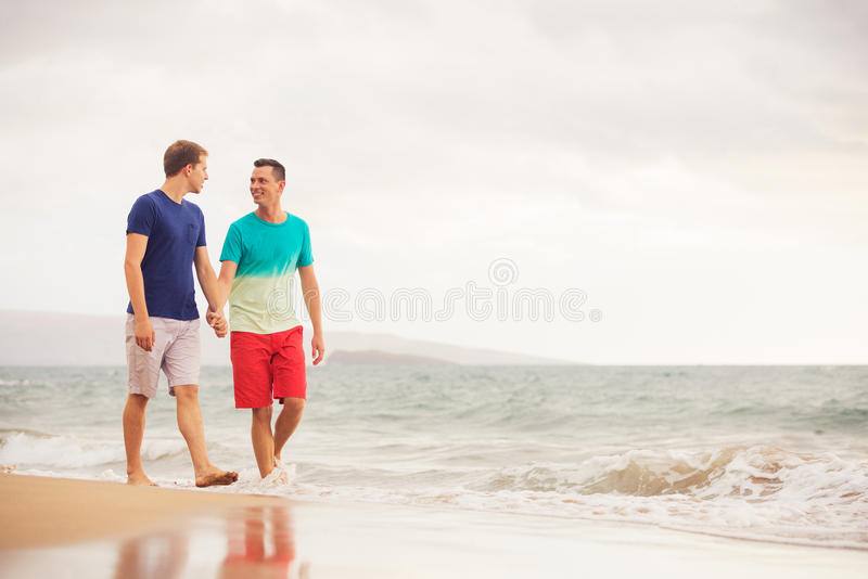 Gay couple on the beach. Happy gay couple walking on the beach stock image