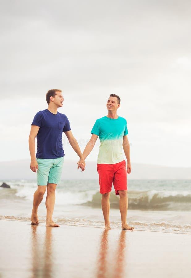 Gay couple on the beach. Happy gay couple walking on the beach royalty free stock photos