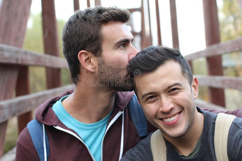 Gay couple enjoying a hike stock image