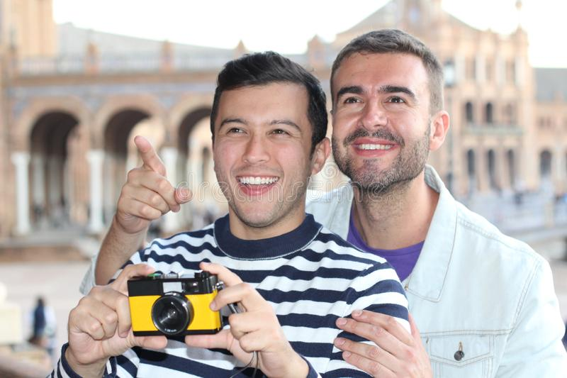 Gay couple enjoying tourism around Europe royalty free stock photography