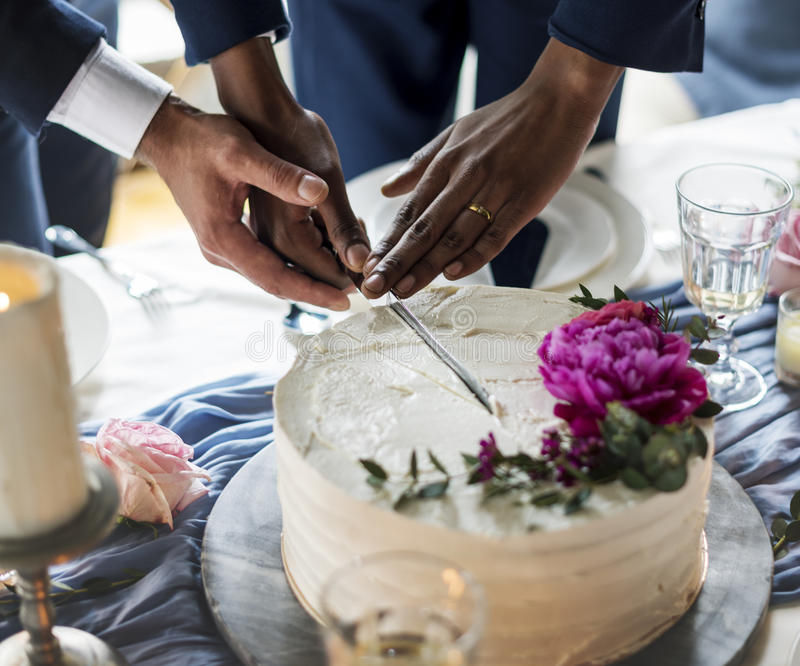 Gay Couple Hands Cutting Wedding Cake royalty free stock images