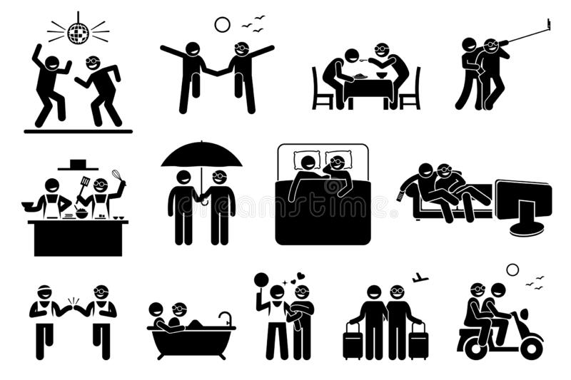 Gay couple lifestyle and activities. royalty free illustration