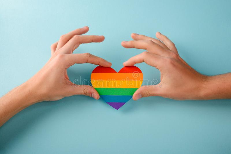 Gay couple in love stock images