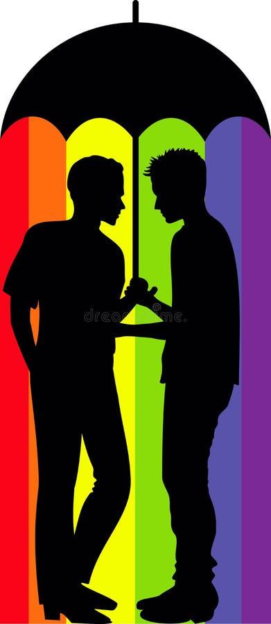 Gay couple under an umbrella stock photos