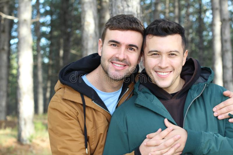 Gay couple utterly in love.  stock photos