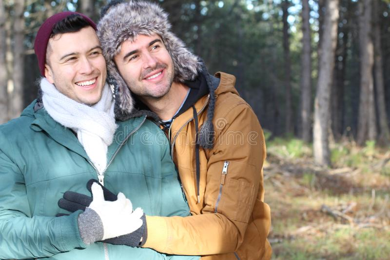 Gay couple utterly in love.  stock photography